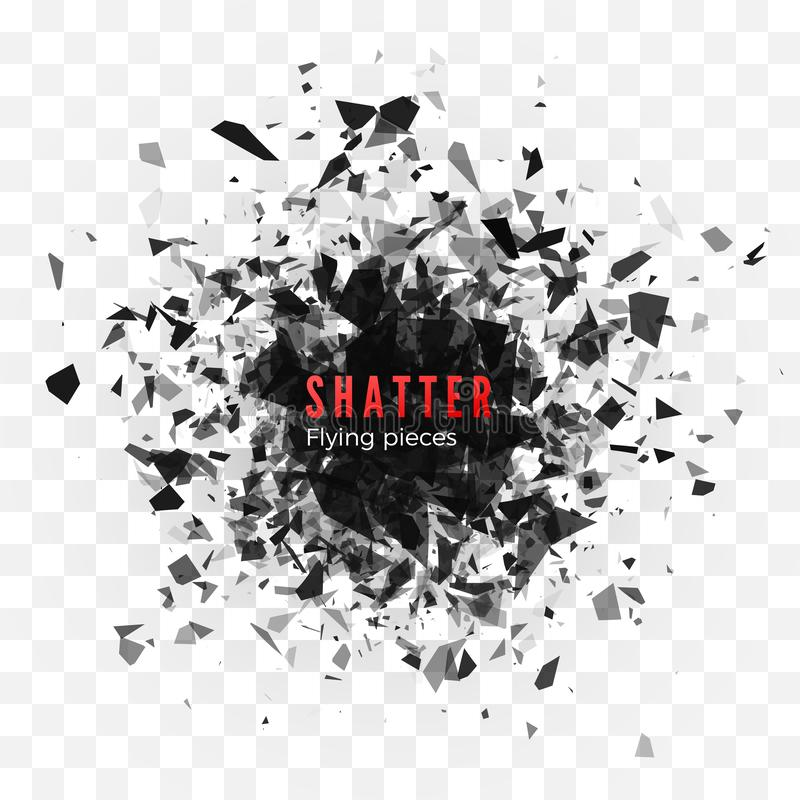 Shatter and destruction effect. Abstract cloud of pieces and fragments after explosion. Vector illustration isolated royalty free illustration