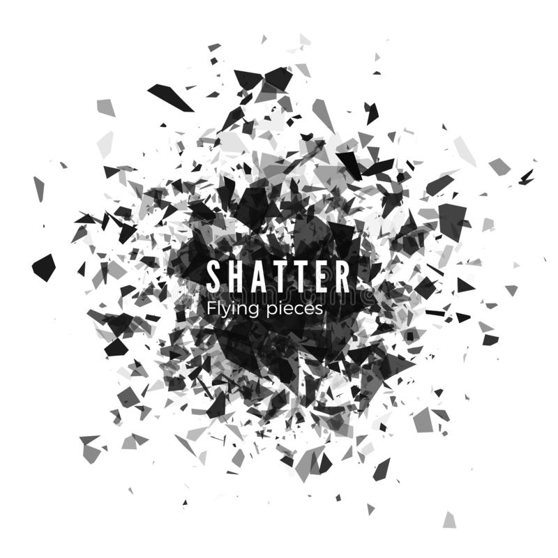 Shatter and destruction effect. Abstract cloud of pieces and fragments after explosion. Vector illustration isolated on white stock illustration