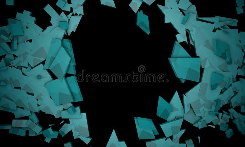 Shattered blue objects,sample text frame background 3d render. Working royalty free illustration