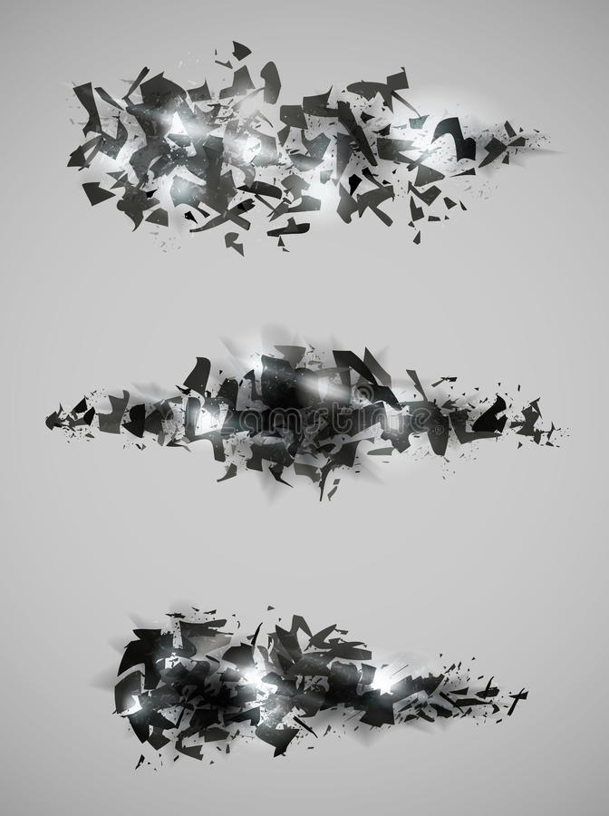 Shattered effect design collection vector illustration