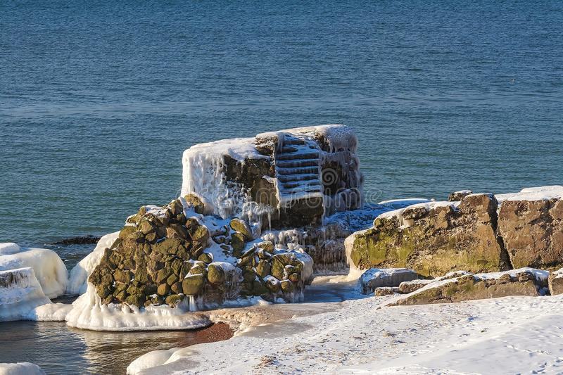 Shattered forts in winter. On a cold winter day, the collapsed forts have been frozen royalty free stock photos
