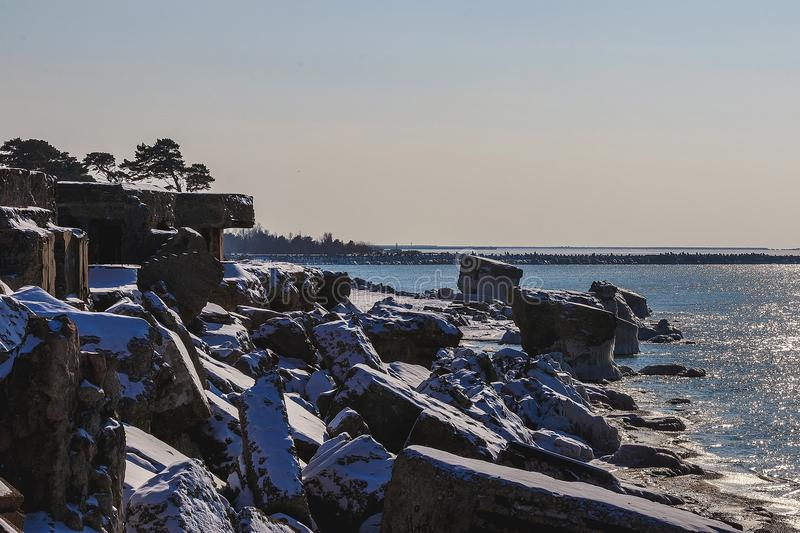 Shattered forts in winter. On a cold winter day, the collapsed forts have been frozen royalty free stock photography