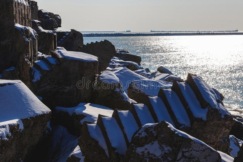 Shattered forts in winter. On a cold winter day, the collapsed forts have been frozen stock image