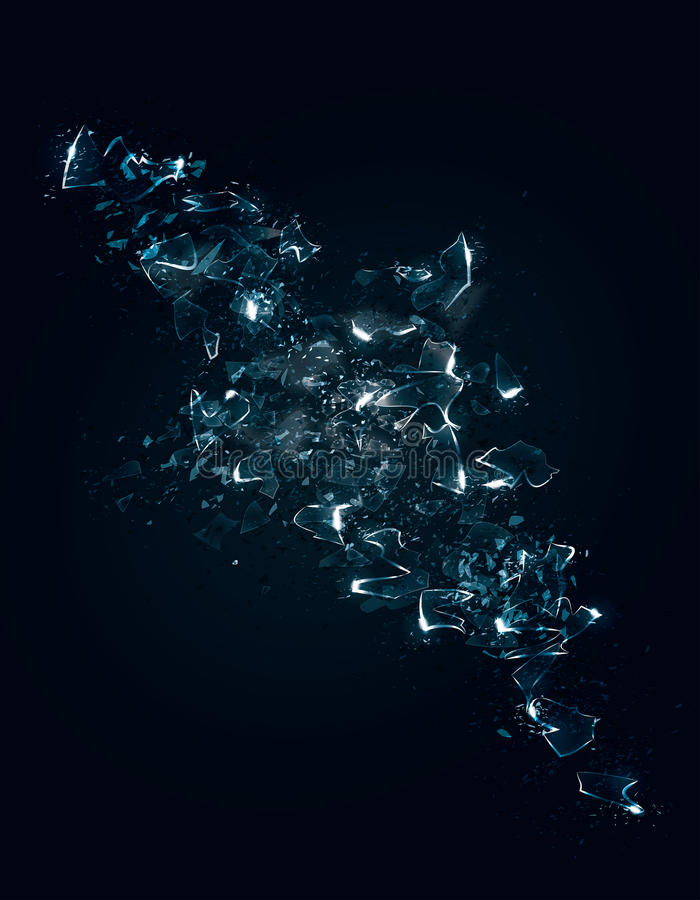 Shattered glass background. An abstract representation of some exploding shattered glass or ice with particle effects. Vector Illustration stock illustration