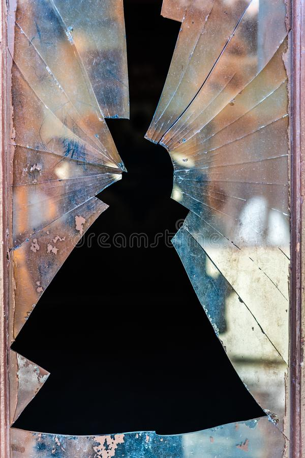 Shattered glass of a door window royalty free stock photo