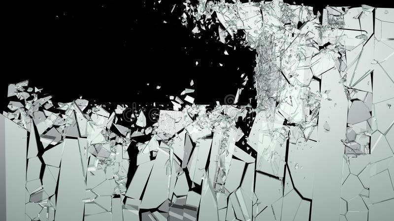 Shattered or smashed pieces of glass stock photography