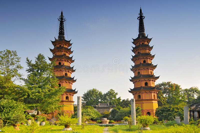 Shauangta twin pagoda temple in Suzhou China.  stock photos