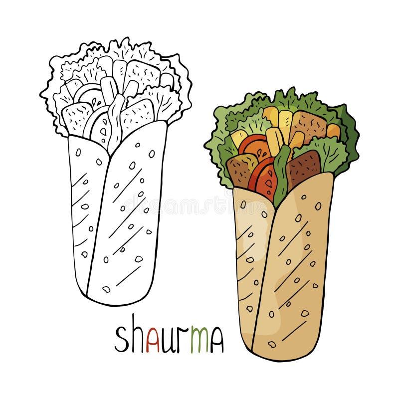 Shaurma руки вычерченное черно-белое и цвет изолированный на белой предпосылке Еда улицы вектора, shaurma иллюстрация вектора