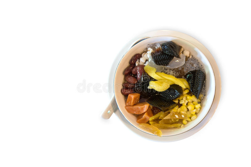 Shaved ice and Grass Jelly mixed fruit on white background. royalty free stock image