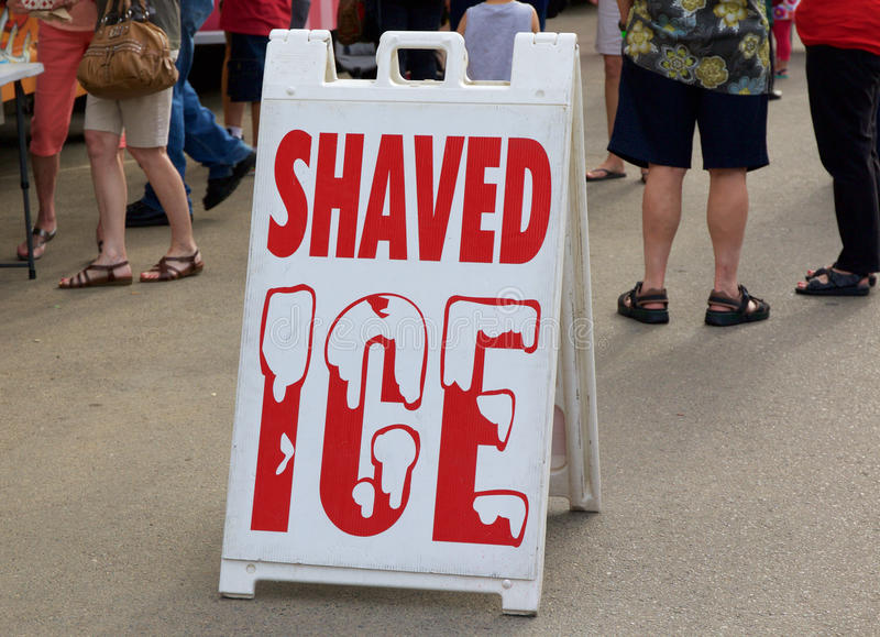 Shaved Ice Poster Sign. Shaved Ice Sign at a Food Truck Event royalty free stock photos