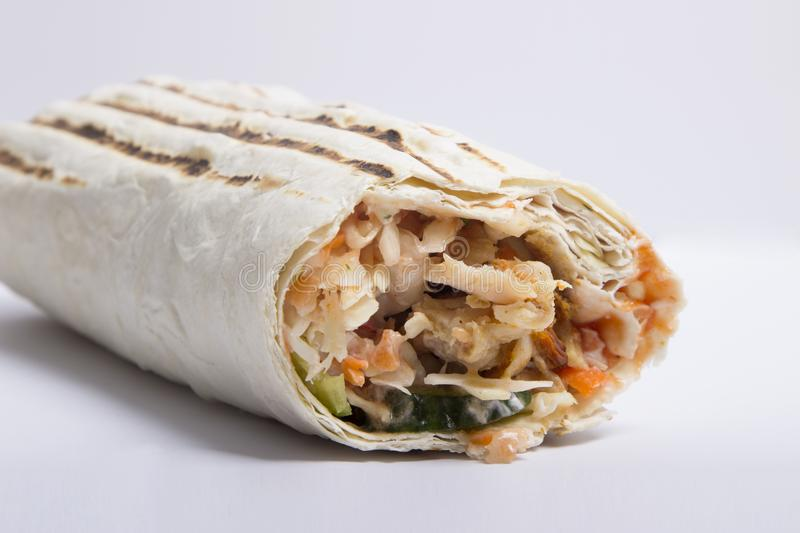 Shaverma on a white background. delicious juicy Shawarma stock photos