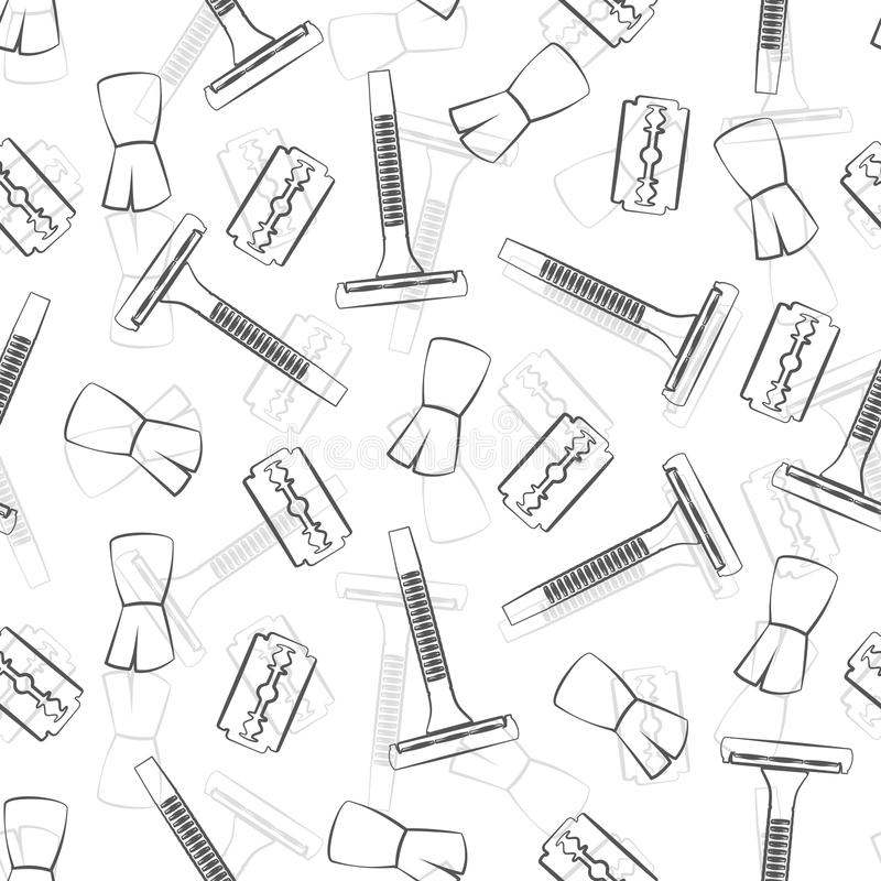 Shaving accessories: machine, blade and brush. royalty free illustration