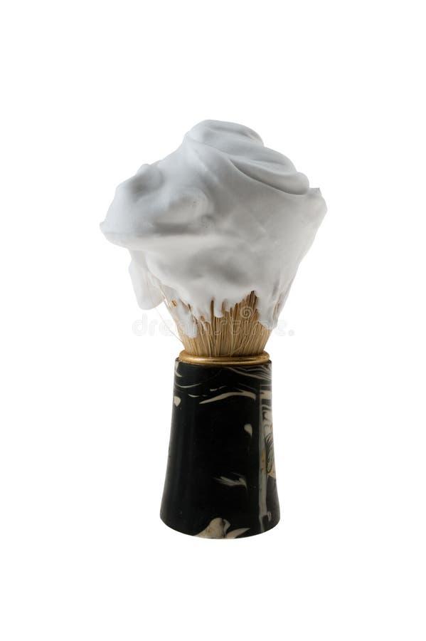 Shaving Brush With Foam. Isolated on White Background royalty free stock photo