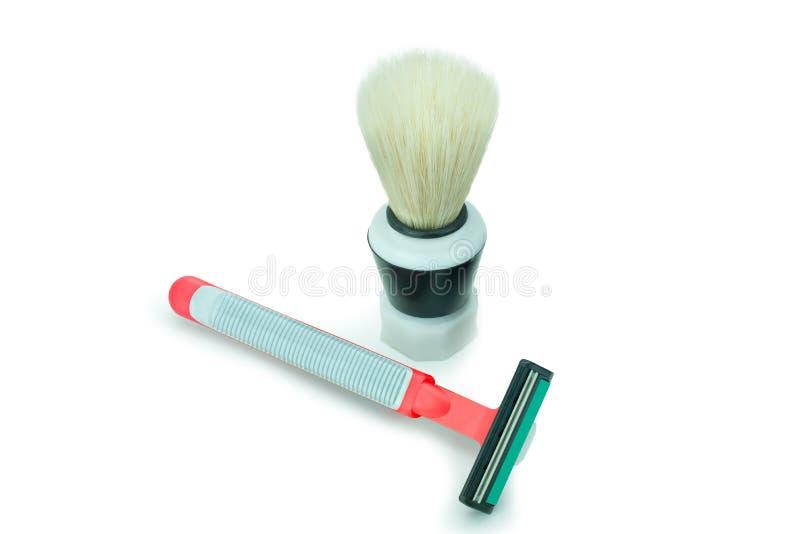 Shaving Brush and shaver stock photos
