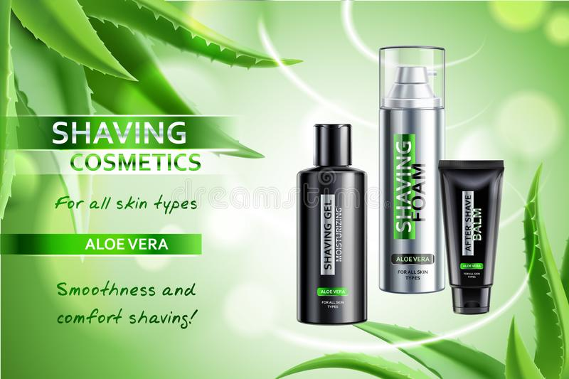 Shaving Cosmetic Products Advertising Composition. Realistic cosmetic shaving products with aloe vera advertising composition on blurred green background with royalty free illustration