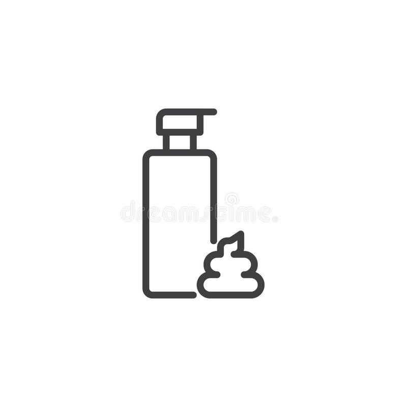 Shaving foam bottle outline icon royalty free illustration