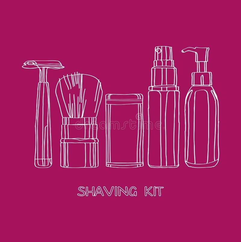 Shaving kit. Of razors, brushes, foams and gels