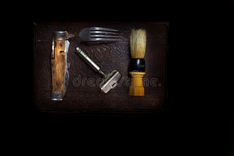 Shaving Kit. A United States Army World War II era shaving kit stock images