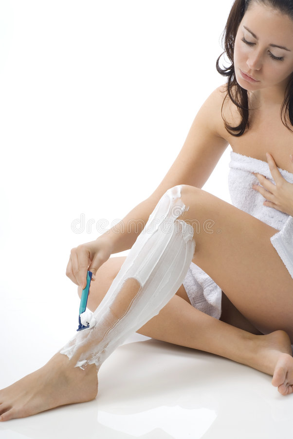 Download Shaving legs with stock image. Image of beautician, bathrobe - 4704321