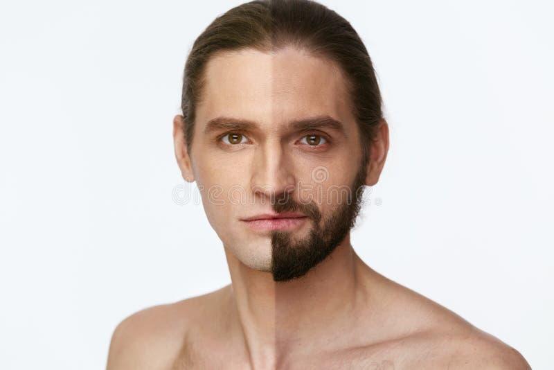 shaving Mens met en zonder Haar op Gezicht stock afbeelding