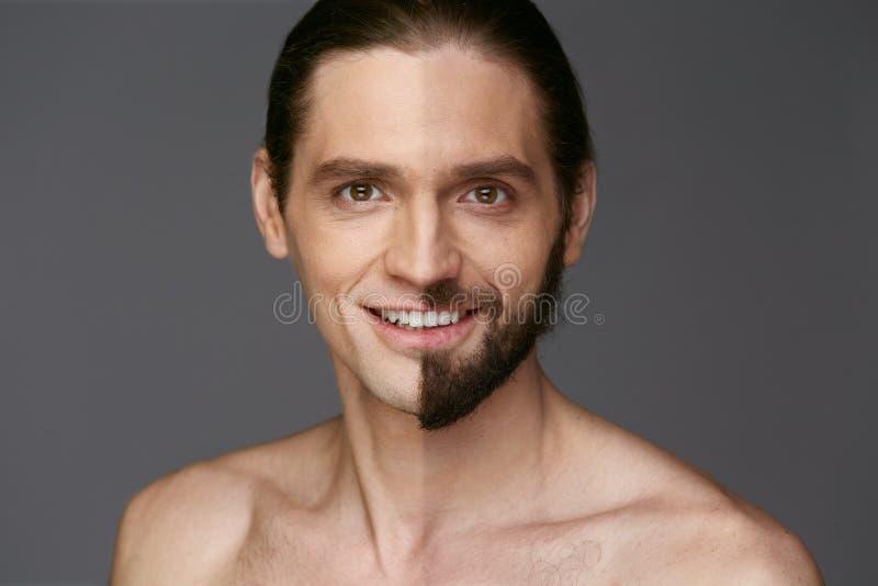 shaving Mens met en zonder Haar op Gezicht royalty-vrije stock foto