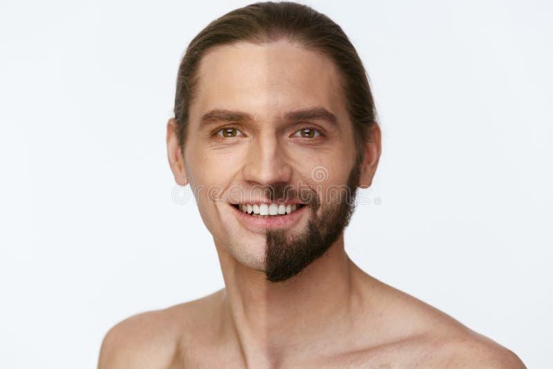 shaving Mens met en zonder Haar op Gezicht stock foto's
