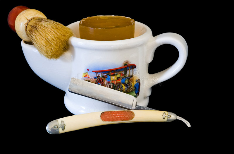 Download Shaving Mug, Brush And Straight Razor Stock Image - Image: 1665071
