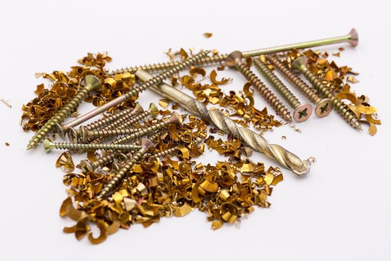 Shavings и винты металла стоковое изображение
