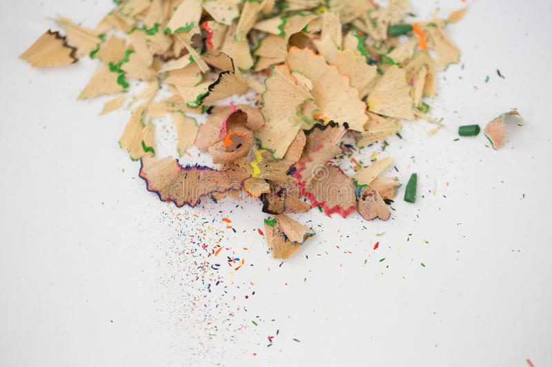 Shavings of pencil on white background royalty free stock photo