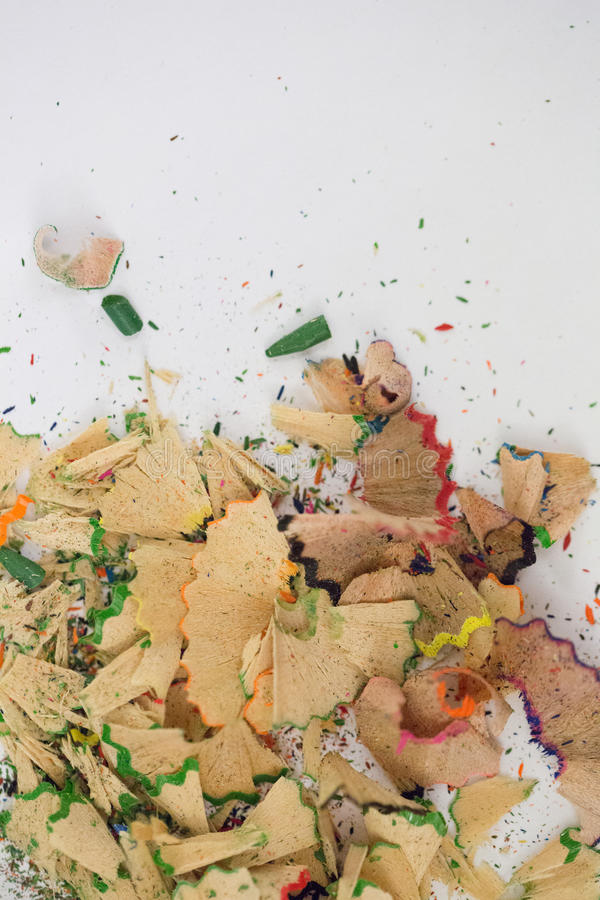 Shavings of pencil on white background stock photography