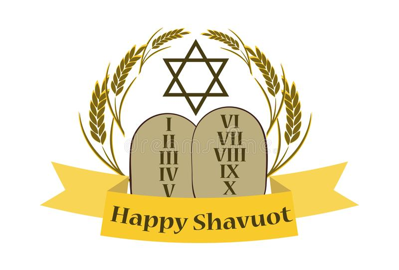 Shavuot Banner - Shavuot festive banner with the image of the Tablets of the Covenant, on an isolated background stock illustration