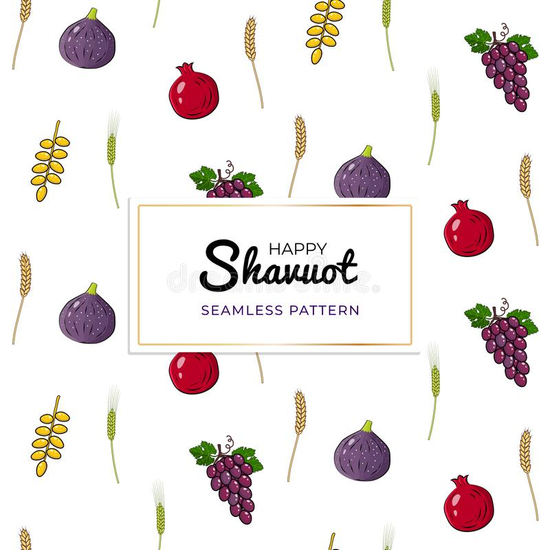 Shavuot Jewish holiday seamless pattern background with seven traditional species vector illustration