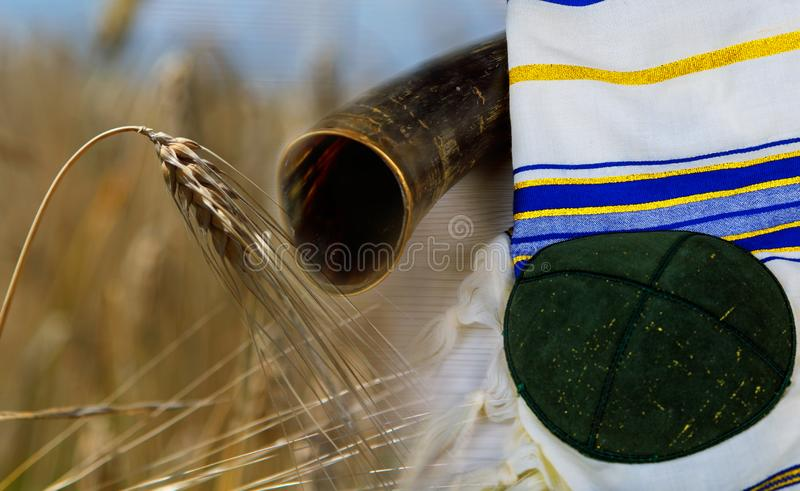 Shavuot jewish holiday kippa shofar harvesting wheat field background. Shavuot jewish holiday shofar kippa kosher harvesting wheat field background holidays food royalty free stock images