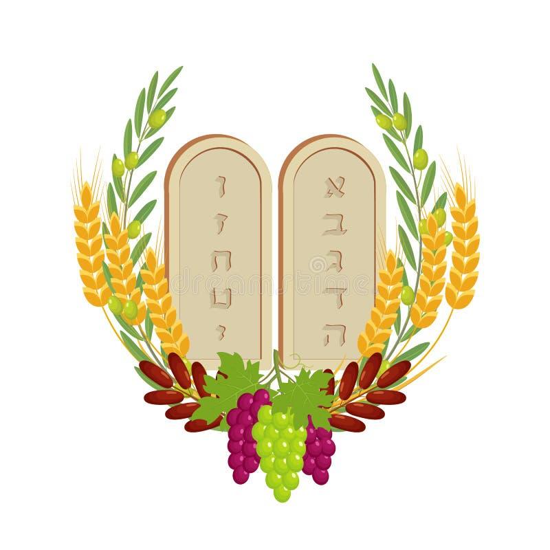 Shavuot, tabletten van steen en vruchten royalty-vrije illustratie