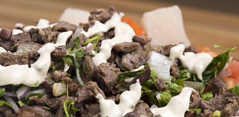 Shawarma牛肉板材 免版税库存图片