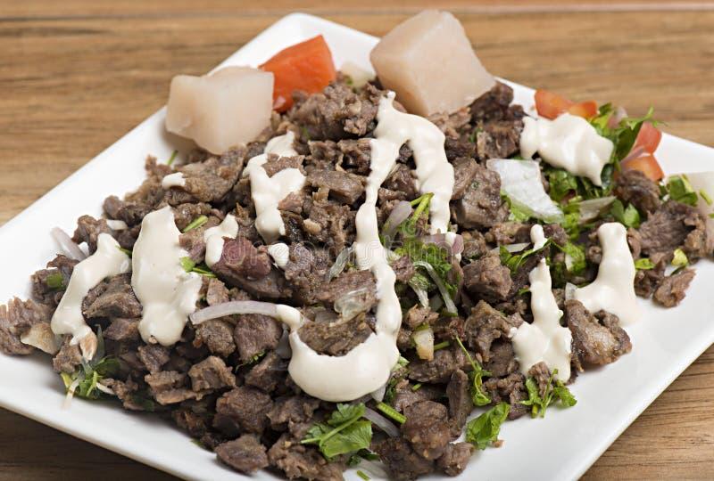 Shawarma牛肉板材 免版税库存照片