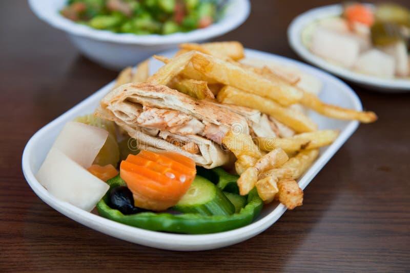 Shawarma árabe del pollo foto de archivo libre de regalías