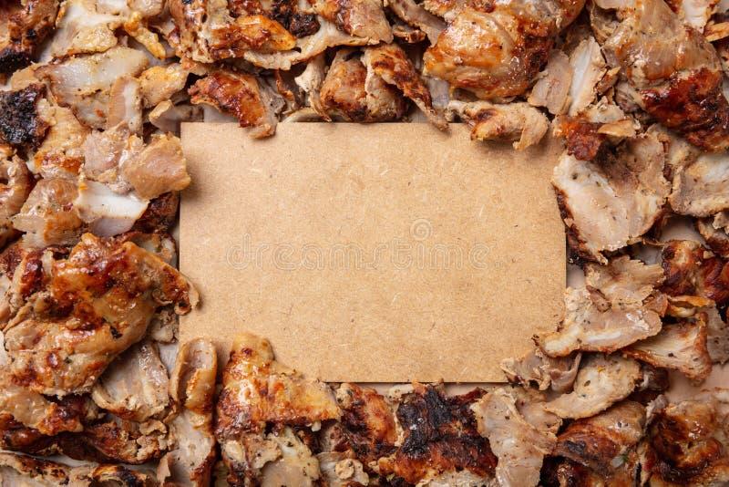 Shawarma, γυροσκόπια, παραδοσιακά τουρκικά, ελληνικά τρόφιμα κρέατος, υπόβαθρο Κενή ετικέτα εγγράφου, διάστημα αντιγράφων στοκ εικόνα