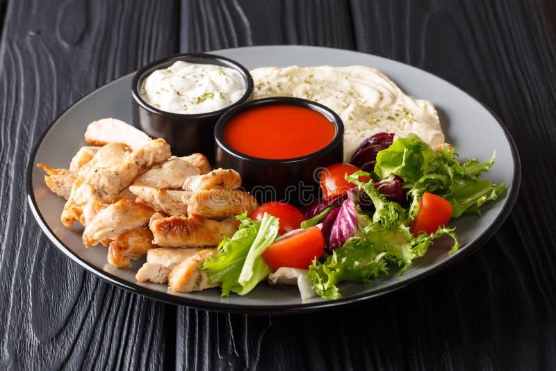 Shawarma bunke med höna, hummus, nya grönsaker sallad och såsnärbild horisontal royaltyfri fotografi