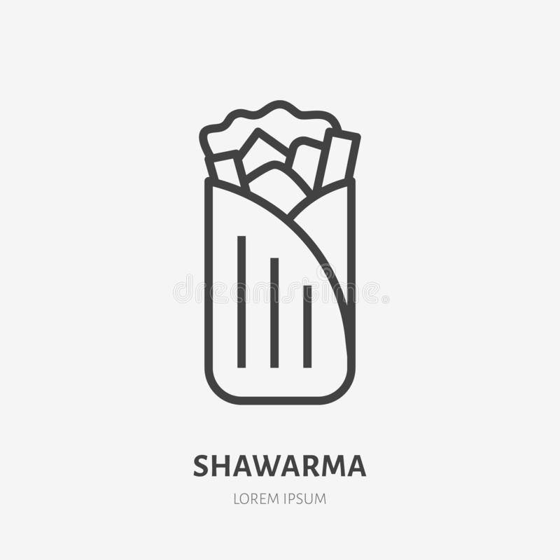 Shawarma, burrito, roll flat line icon. Vector thin sign of mexican food. Traditional meal wrap in tortilla, pita stock illustration