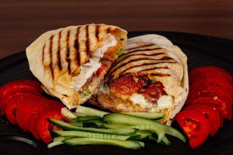 Shawarma com carne fotografia de stock royalty free