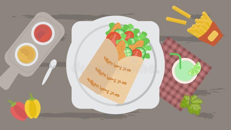 Shawarma con le patate fritte, le salse ed il cocktail su una tovaglia a quadretti immagine stock libera da diritti