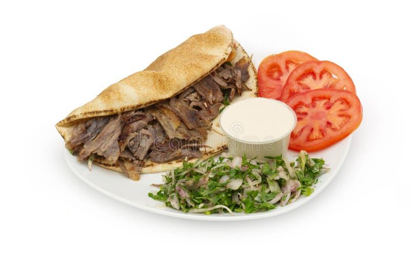 Shawarma Doner Kebab auf einer Platte stockfoto