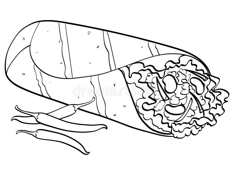 Shawarma e vettore bianco dell'alimento del fondo del peperoncino bambini che colorano, linee nere illustrazione di stock