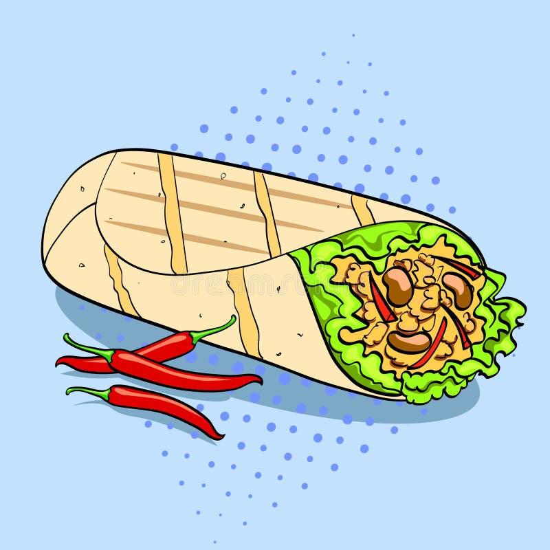 Shawarma e vettore dell'alimento del fondo di Pop art del peperoncino Imitazione comica di stile illustrazione di stock