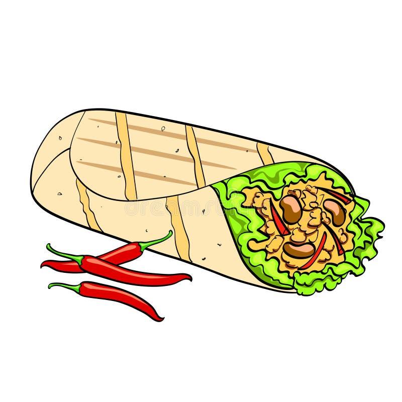 Shawarma e vettore dell'alimento del fondo di Pop art del peperoncino Imitazione comica di stile Oggetto isolato su priorità bass royalty illustrazione gratis
