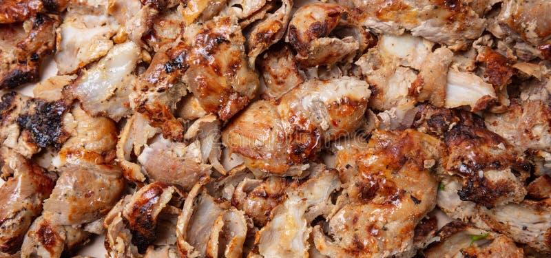 Shawarma, fundo dos giroscópios Turco tradicional, alimento grego da carne, opinião do close up foto de stock