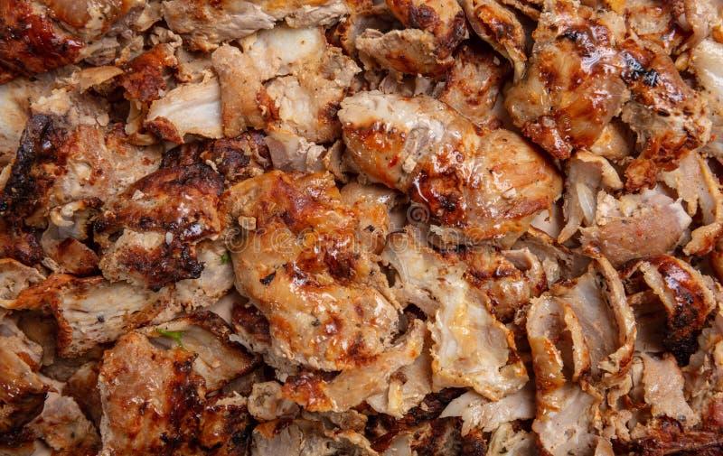 Shawarma, gyroscopenachtergrond Traditioneel Turks, Grieks vleesvoedsel, close-up royalty-vrije stock foto's