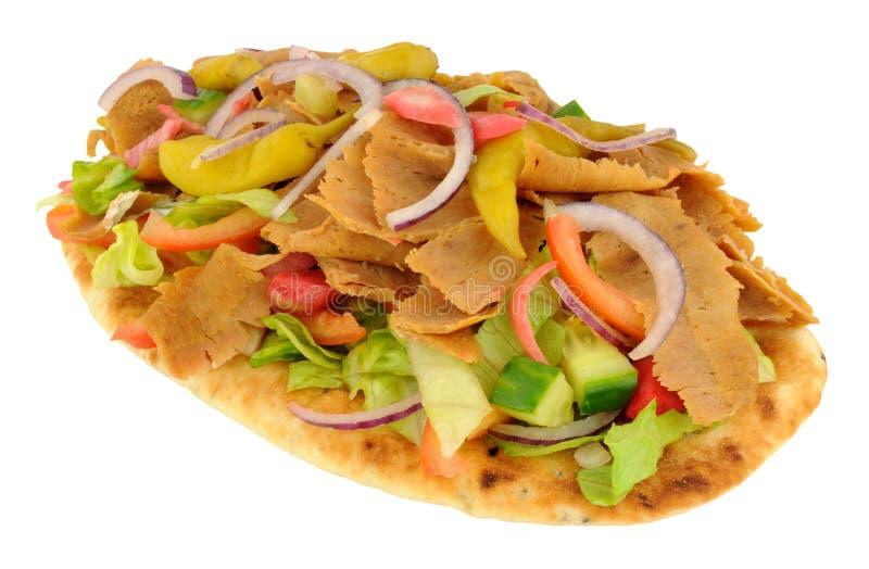 Shawarma Kebab肉和沙拉在Naan面包 库存照片