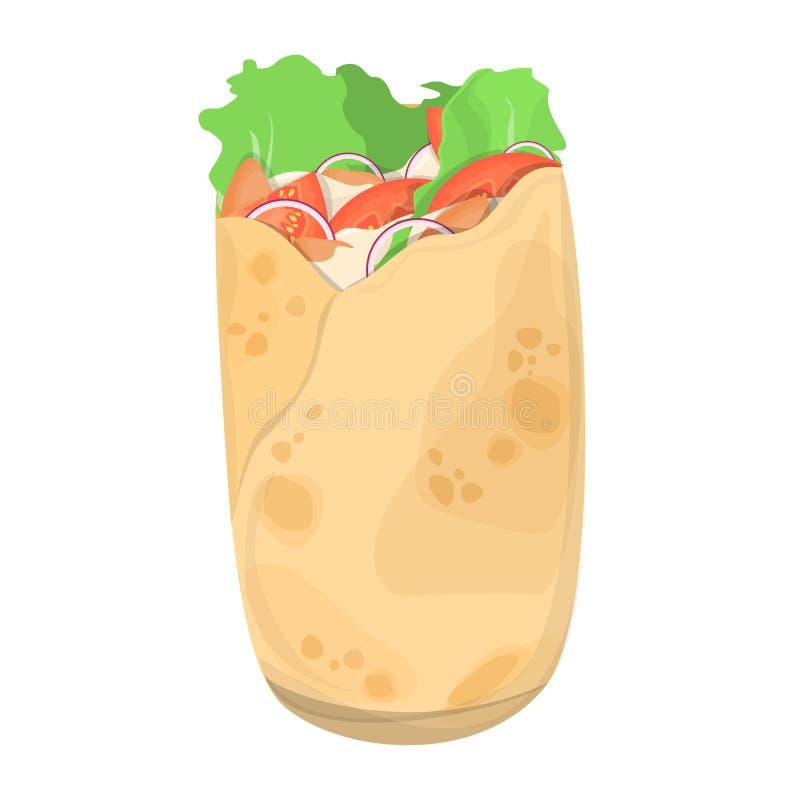 Shawarma-Nahrung Köstliche Rolle mit Fleisch, Salat und Tomate stock abbildung